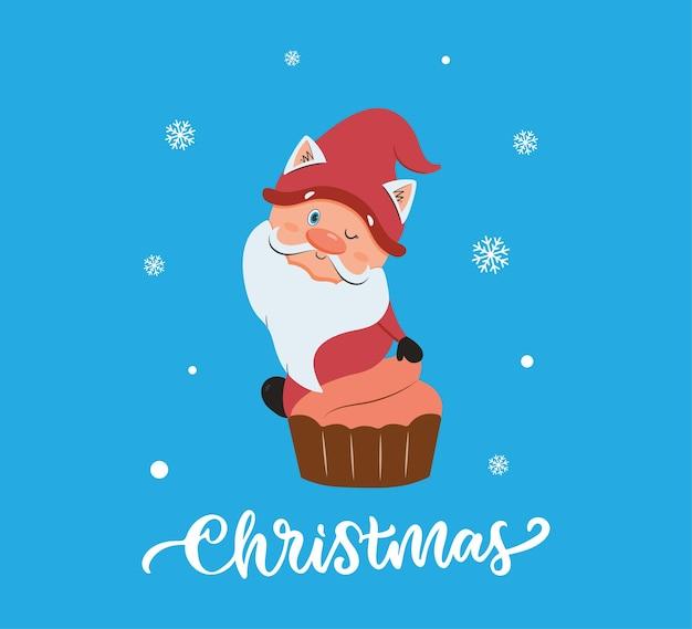 De kerstkaart met grappige kabouter de cupcake met tekst is goed voor kaarten met kerstontwerpen