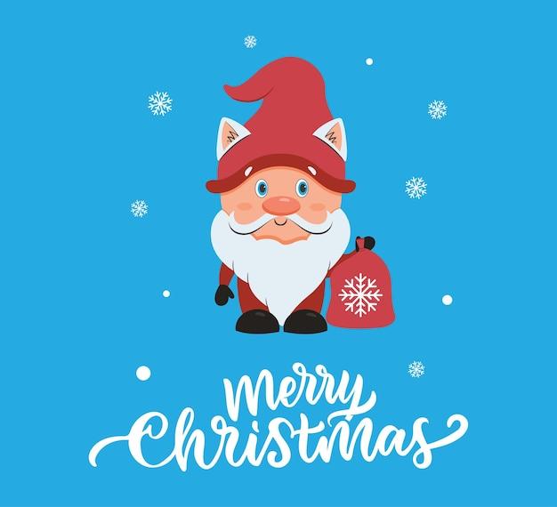 De kerstkaart met schattige kabouter de kleine kerstman met tas is goed voor vakantieontwerpen