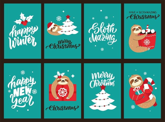 De kerstkaartenset met luiaardcitaten over gelukkig nieuwjaar het ontwerp voor vakantieontwerpen