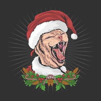 De kerstkat draagt een kerstman-hoed en schreeuwt
