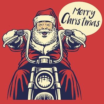 De kerstman berijdt een motorfiets