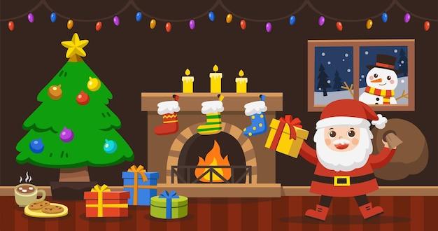 De kerstman brengt de zak met cadeaus voor kerstmis in de versierde woonkamer wintervakantie.