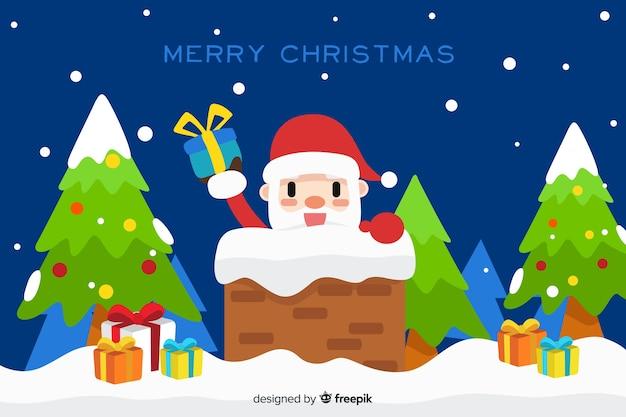 De kerstman die de achtergrond van het hoorn vlakke ontwerp ingaat