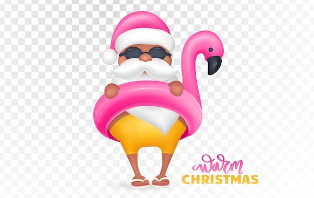 De kerstman die flamingo draagt zwemt ring. tropische kerst. vector illustratie
