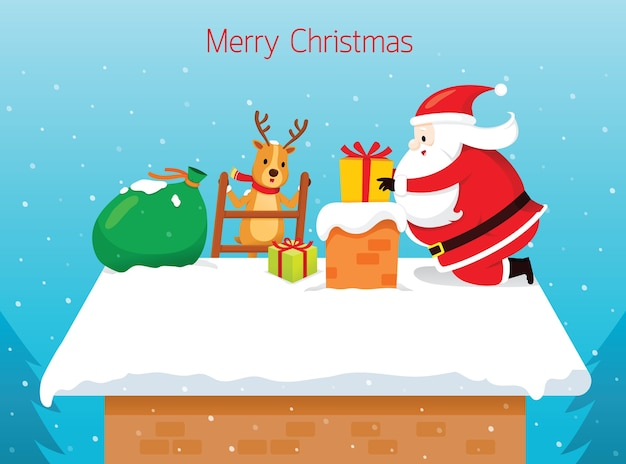 De kerstman die giftdoos in schoorsteen laat vallen