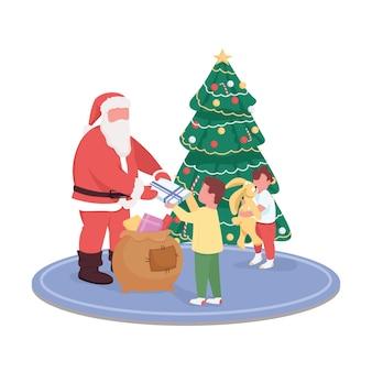 De kerstman die kinderen geeft, presenteert anonieme karakters in egale kleur