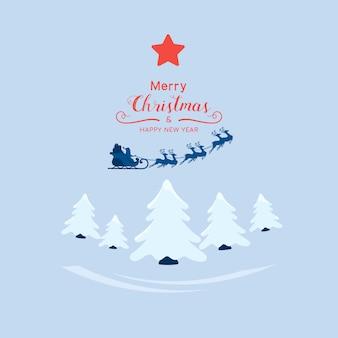 De kerstman die met rendierar vliegen over het bos