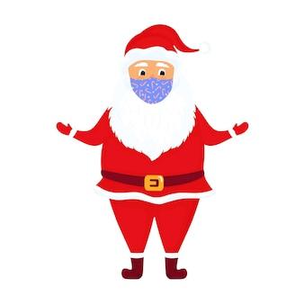 De kerstman draagt een beschermend gezichtsmasker. vector illustratie. stripfiguur.