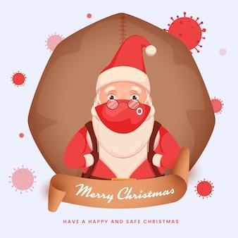 De kerstman draagt een gezichtsmasker met het optillen van een zware tas tijdens coronaviruspandemie
