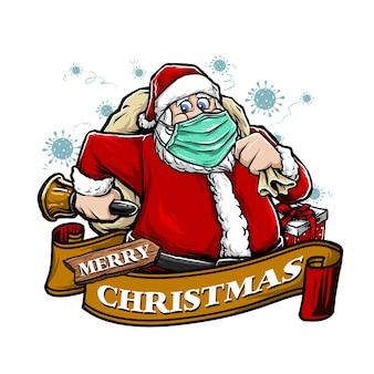 De kerstman draagt een masker in de illustratie van pandemische virussen