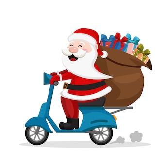 De kerstman draagt een scooterzak met geschenken op een witte achtergrond.