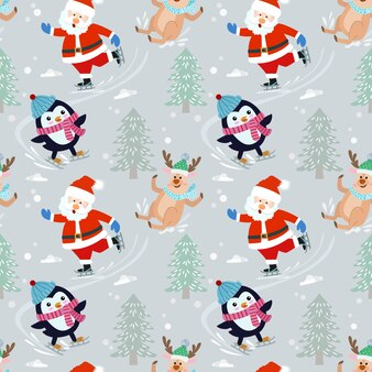 De kerstman en de pinguïn op vleetpatroon.