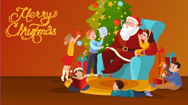 De kerstman en kinderen in de kamer vieren kerstmis