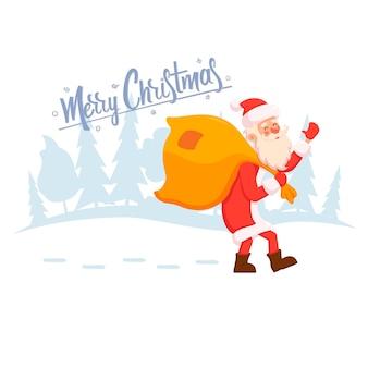 De kerstman gaat met een zak cadeautjes naar de kinderen door het winterse besneeuwde bos