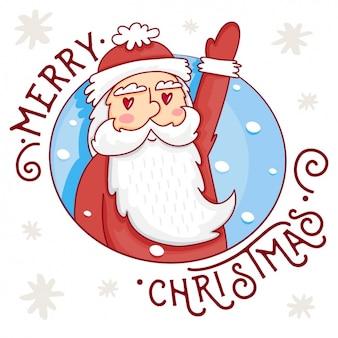 De kerstman, getrokken hand