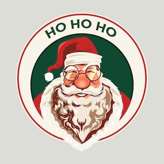 De kerstman glimlacht gezicht met bril, baard en hoed en zegt ho ho ho