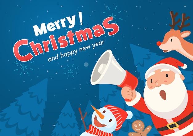 De kerstman houdt een megafoon vast en kondigt prettige kerstdagen en een gelukkig nieuwjaar aan.