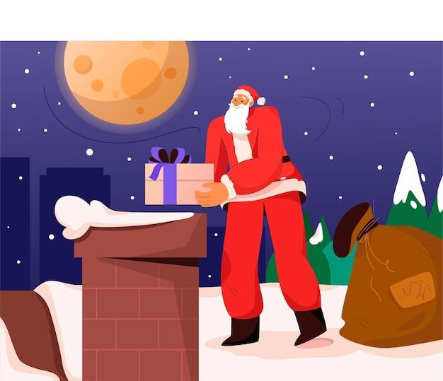De kerstman houdt geschenken vast en staat bij de schoorsteen op het dak