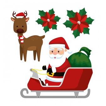 De kerstman in de slee en het hert om kerstmis te vieren