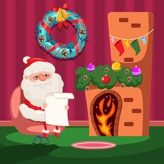 De kerstman leest een verlanglijstje bij de open haard.
