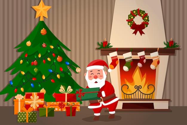 De kerstman legt een cadeau onder de boom. open haard op de achtergrond.