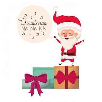 De kerstman met avatar van giftdozen karakter