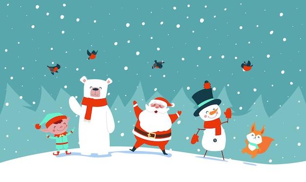 De kerstman met bosdieren zwaait met zijn handen