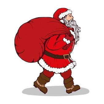 De kerstman met een zak giften op wit