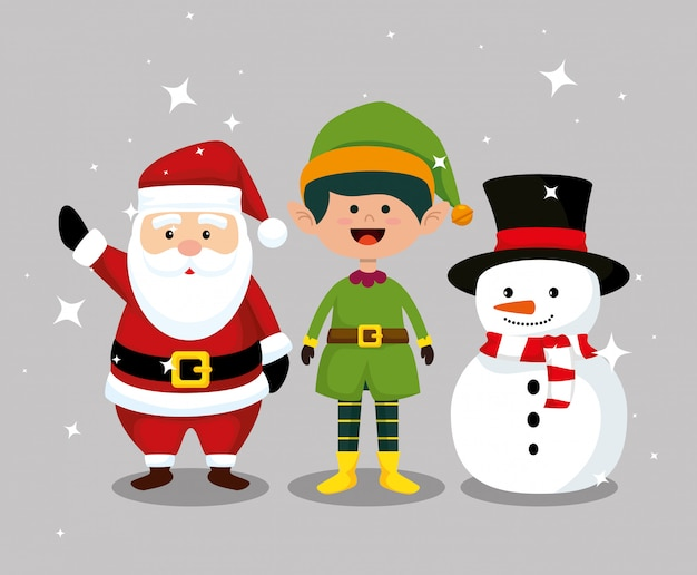 De kerstman met elf en sneeuwmanviering
