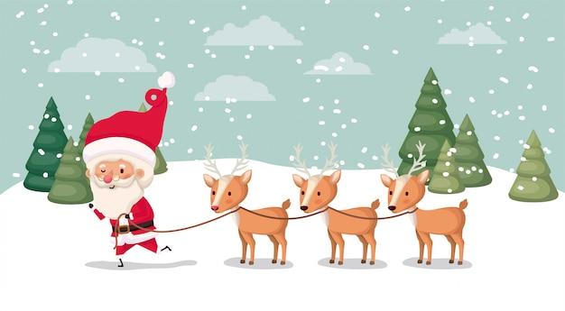 De kerstman met hertengroep in snowscape