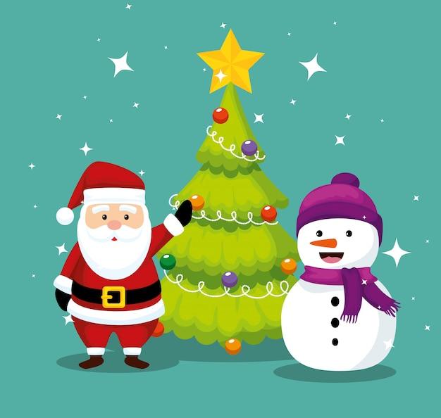 De kerstman met pijnboomboom en sneeuwman