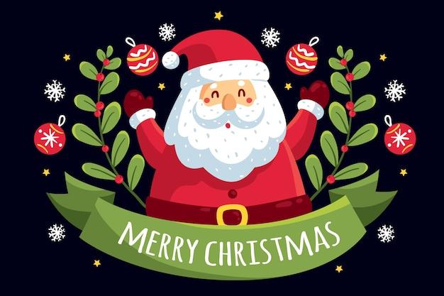 De kerstman omringd door lint en maretak