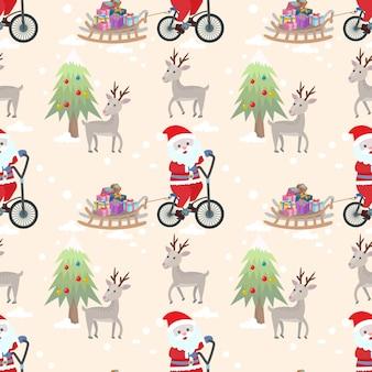De kerstman op vectorontwerp van het fiets het naadloze patroon.
