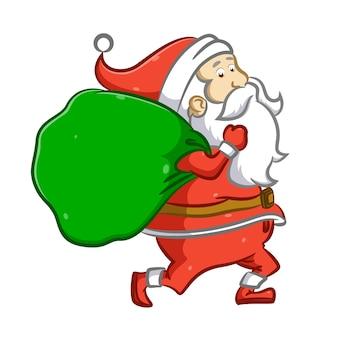 De kerstman rent en houdt een grote zak cadeau voor kerstmis