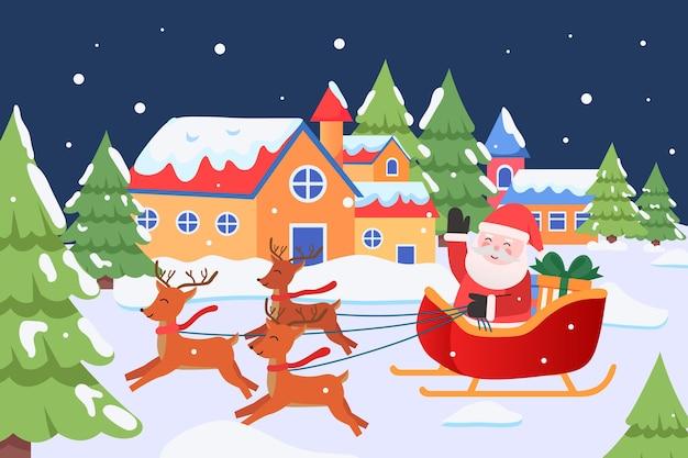 De kerstman rijdt in een hertenkar om op kerstavond cadeaus te bezorgen