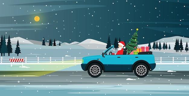 De kerstman rijdt om een geschenkdoos te halen die in de sneeuw wordt uitgedeeld
