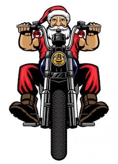 De kerstman rijdt op de klassieke chopper-motorfiets