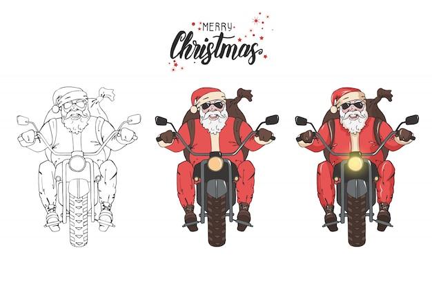 De kerstman rijdt op de motorfiets met een rugzak met geschenken.