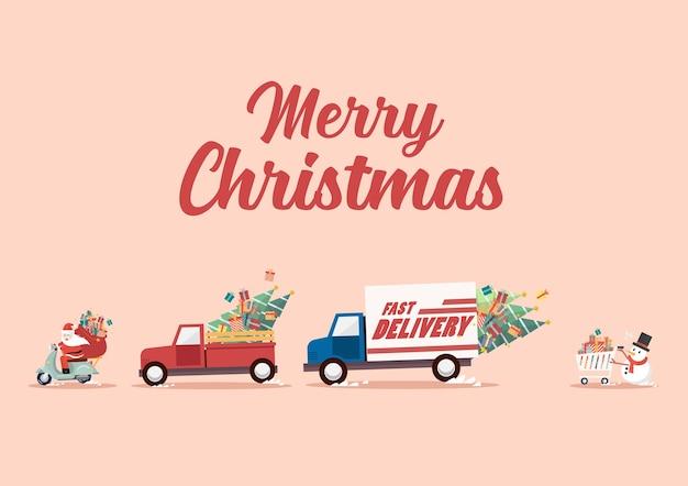 De kerstman rijdt op een motor achter vrachtwagens aan en sneeuwman duwt een winkelwagentje