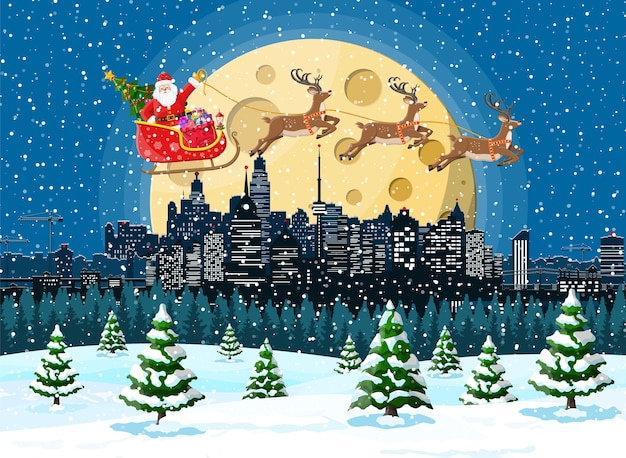 De kerstman rijdt rendierslee over de stad