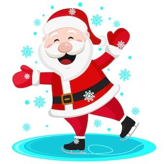De kerstman schaatst en glimlacht, op een witte achtergrond.