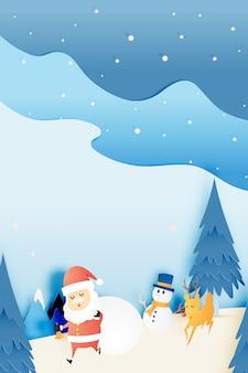 De kerstman, sneeuwman en rendier in document kunststijl met sneeuw en sneeuwvlokachtergrond ve