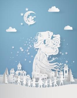 De kerstman stort sneeuwvlok op het dorp neer