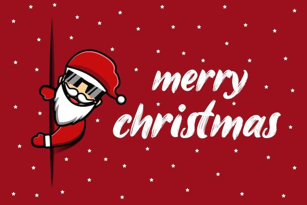 De kerstman zegt merry christmas cartoon achtergrond