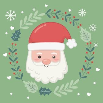 De kerstman ziet bloemenkroonillustratie onder ogen