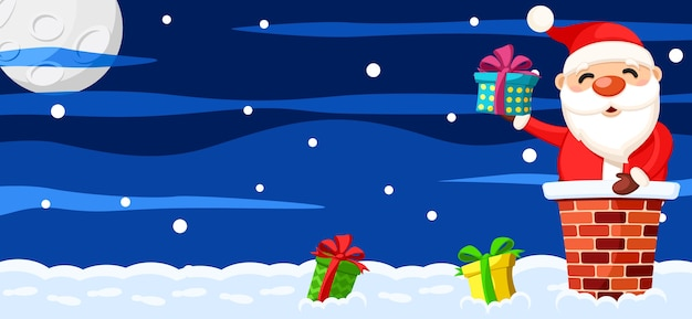 De kerstman zit in de schoorsteen op het dak en houdt een giftdoos, kerstmisachtergrond vast. ruimte voor tekst.