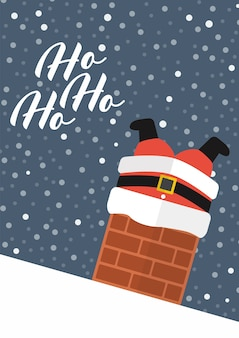 De kerstman zit vast in de schoorsteen met de tekst ho ho ho. wenskaart poster.