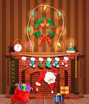 De kerstman zit vast in de schoorsteen.