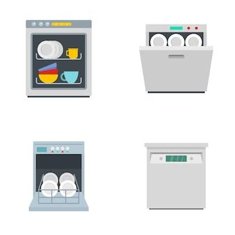 De keukenpictogrammen van de afwasmachinemachine geplaatst vlakke stijl