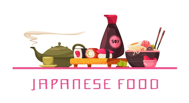 De keukensamenstelling van japan met gediende lijst met traditioneel japans voedsel